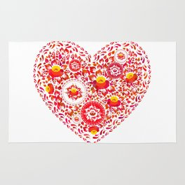 Valentine's Day card Heart made of red orange flowers on white background. Romantic invitation Rug
