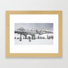 Grand Teton National Park Winter Black and White Framed Art Print