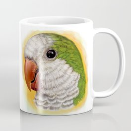 Green quaker parrot realistic painting Coffee Mug