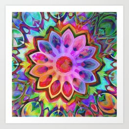 Rainbow Flower Pink Art Print