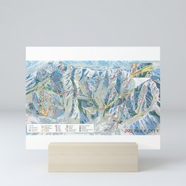 Park City Utah Trail Map Ski Snowboard Mini Art Print