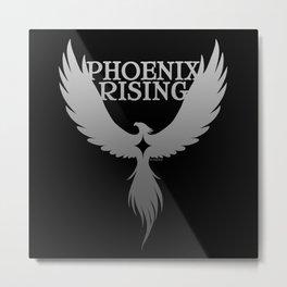 PHOENIX RISING grey on black with star center Metal Print