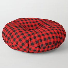 Classic Red Country Cottage Summer Buffalo Plaid Floor Pillow