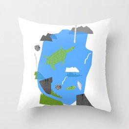 Turtle pond Throw Pillow