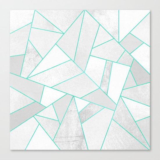 White Stone with Turquoise Lines Canvas Print
