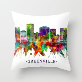 Greenville South Carolina Skyline Throw Pillow