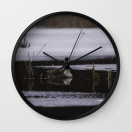 Canadian Geese on frozen lake Wall Clock