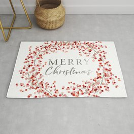 Merry Christmas wreath. Red berry Rug