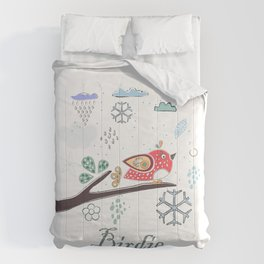 Cute Winter Icon with a birdie. Hand Drawn Scandinavian Style Comforters