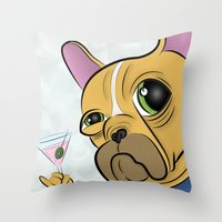 frenchie Throw Pillows featuring Frenchie by Kandus Johnson