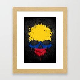Flag of Colombia on a Chaotic Splatter Skull Framed Art Print