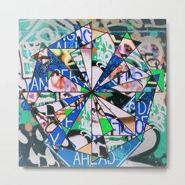 Green Graffiti Abstract Mosaic Metal Print