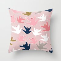 sloths Throw Pillows featuring Pattern with sloths by Darish