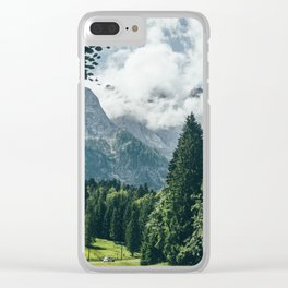 Zugspitze Mountain In Summer Clouds Clear iPhone Case