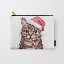 Christmas Cat in Santa Hat Whimsical Holiday Animals Carry-All Pouch