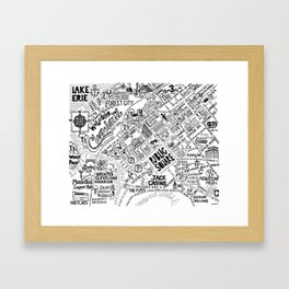 Cleveland Ohio Map Framed Art Print