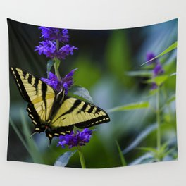Butterfly on a Purple Flower Wall Tapestry