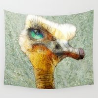 ostrich Wall Tapestries featuring abstract ostrich by Ancello