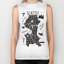 Seattle Illustrated Map in Black and White - Single Print Biker Tank