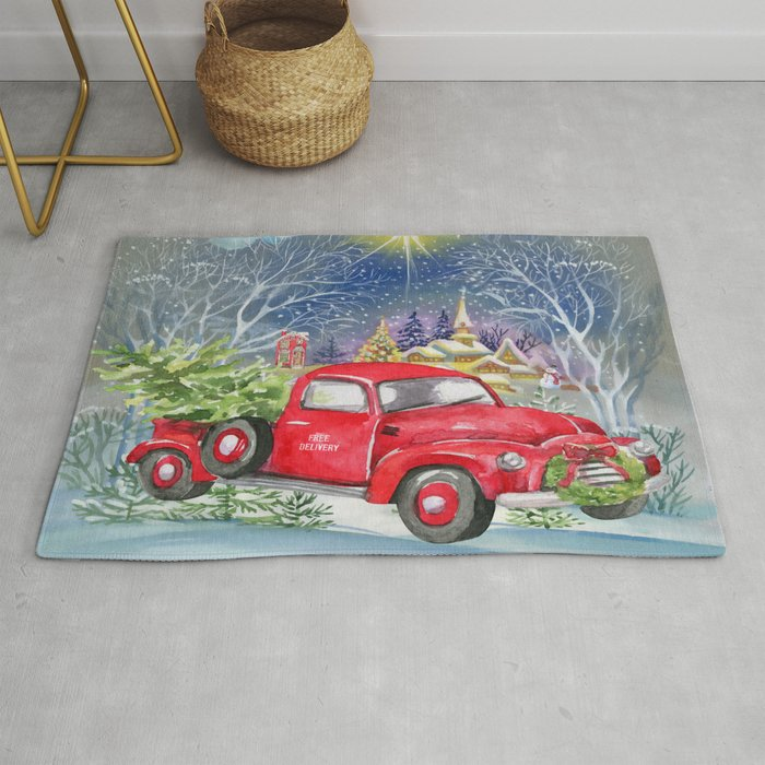 Vintage Red Truck Christmas Placemats.Red Truck With Christmas Tree Rug By Folknfunky