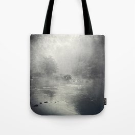fog and light on the river Tote Bag