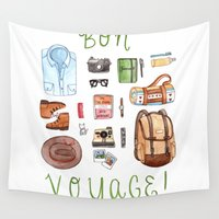 voyage Wall Tapestries featuring Bon Voyage by Brooke Weeber