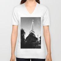 eiffel V-neck T-shirts featuring Eiffel by Melynda Nichole