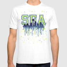 Seattle 12th Man Art Watercolor Space Needle Painting White MEDIUM Mens Fitted Tee