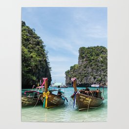 Colorful Tour Boats Phuket Thailand Poster