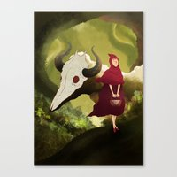 red hood Canvas Prints featuring red hood by R,oh