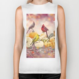 Fall colorful background with birds and pumpkins Biker Tank