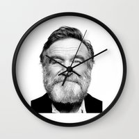 robin williams Wall Clocks featuring Rest In Peace Robin Williams by Luxe Glam Decor