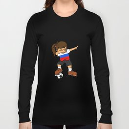Russia Soccer Ball Dabbing Girl Russian Football Long Sleeve T-shirt