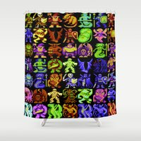 monsters Shower Curtains featuring Monsters by noirlac