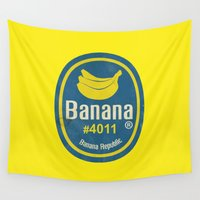sticker Wall Tapestries featuring Banana Sticker On Yellow by Karolis Butenas