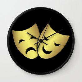 Theater masks: happy and sad faces Wall Clock