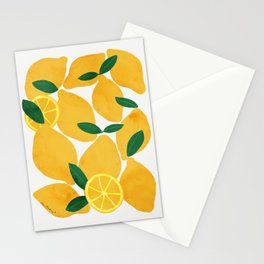 lemon mediterranean still life Stationery Cards
