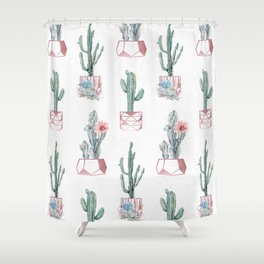 Rose Gold Potted Cactus with Succulents Shower Curtain