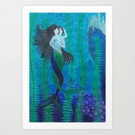 Mermaid Lovers Art Print
