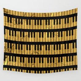 Golden Piano Keys Wall Tapestry