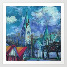Luisenkirche, Kaliningrad, White Church Cityscape Pastel Painting Impressionism Art Print