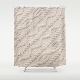Beige Cableknit Sweater Shower Curtain