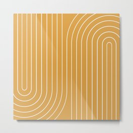 Minimal Line Curvature - Golden Yellow Metal Print