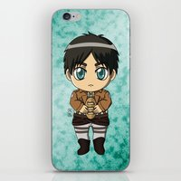 shingeki no kyojin iPhone & iPod Skins featuring Shingeki no Kyojin - Chibi Eren by Tenki Incorporated