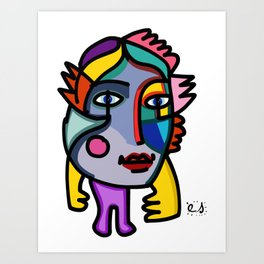 Portrait of a Joyful Graffiti Cubist  Rainbow Girl  Art Print