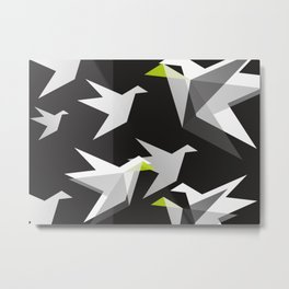 Black and White Paper Cranes Metal Print