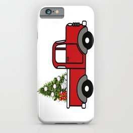 Old red truck hauling Christmas tree iPhone Case