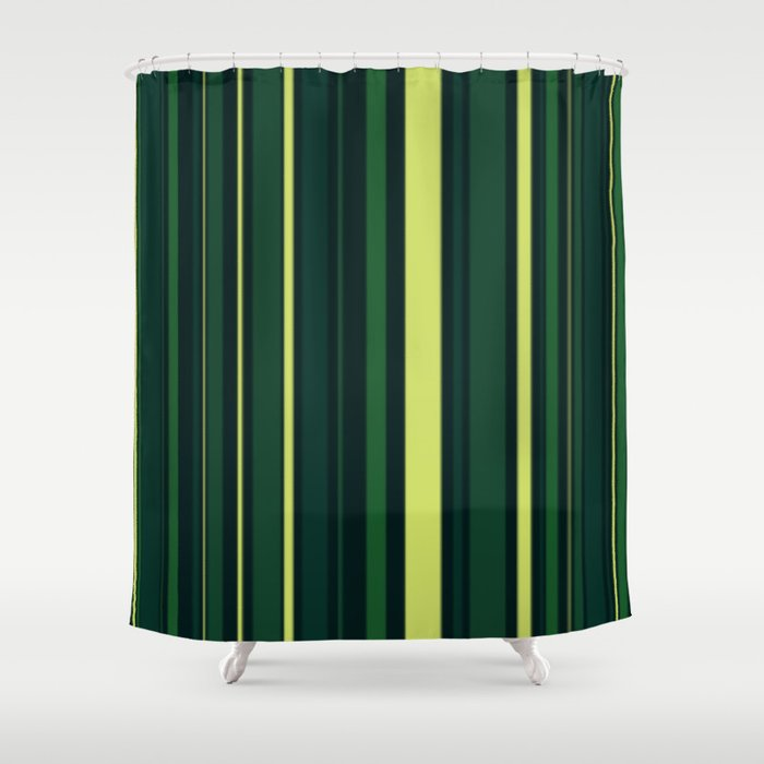 Yellow And Shades Of Green Stripes Shower Curtain