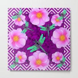 Aqua Dragonflies Pink Roses Purple Abstract Pattern Art Metal Print