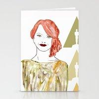 emma stone Stationery Cards featuring Emma by Kats Illustration